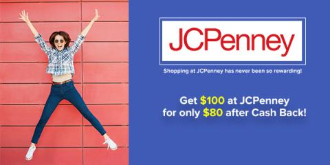 $100 at JCPenney for only $80 after cash back