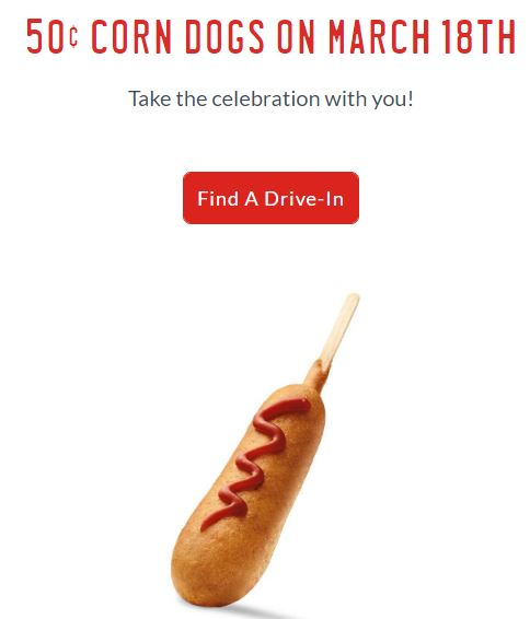 $0.50 Corn Dogs at Sonic Mar. 18