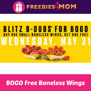 BOGO Free Boneless Buffalo Wild Wings Today