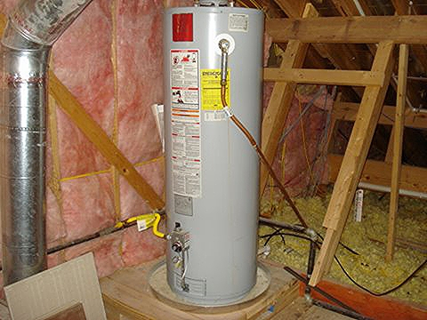 water heater in attic
