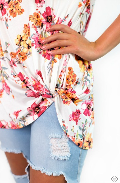 Knotted Floral Tee $21.95