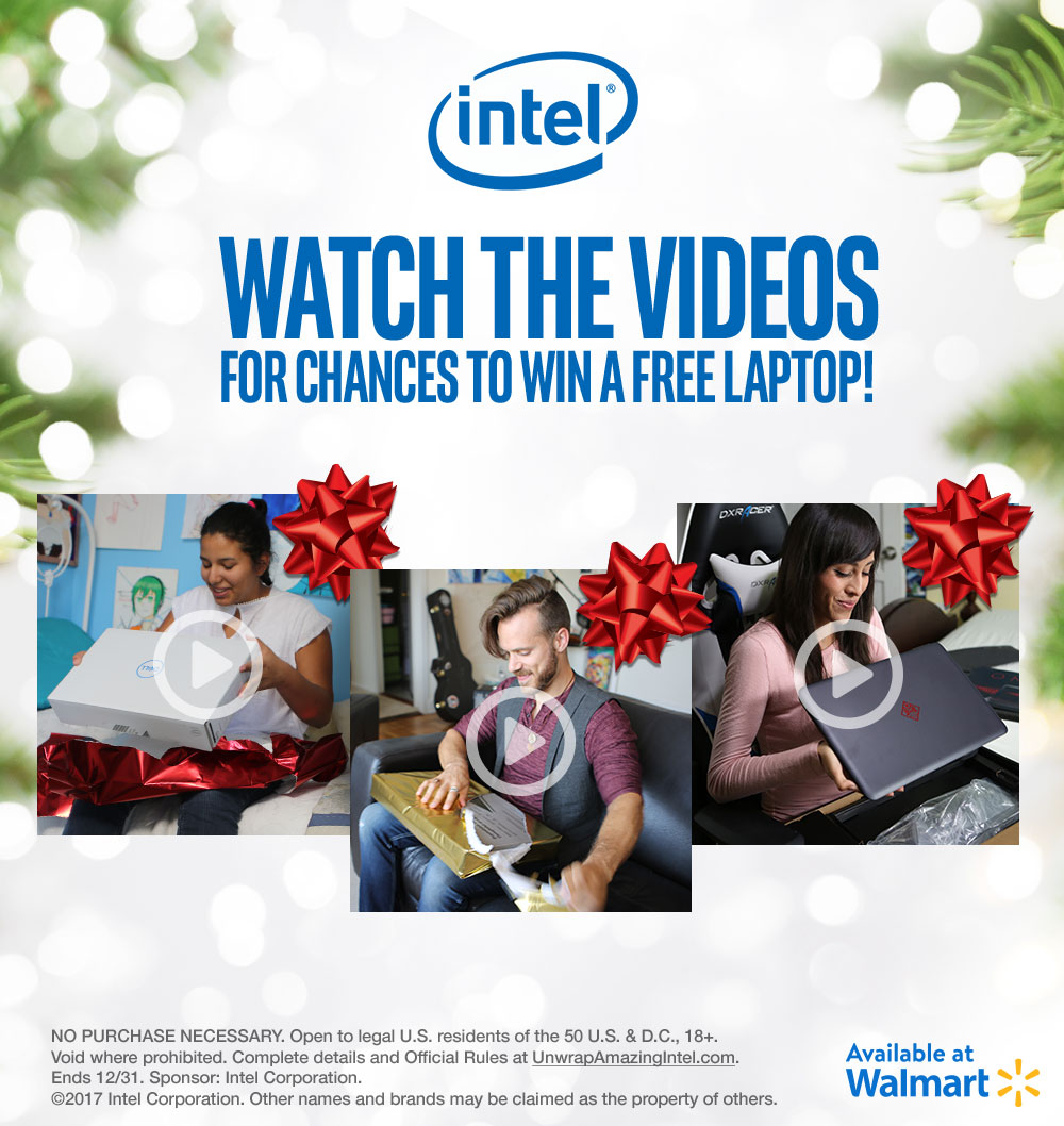 Watch the videos for chances to win a free Intel Laptop