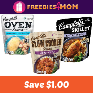 Save $1 on Campbell's Skillet, Slow Cooker or Oven Sauce
