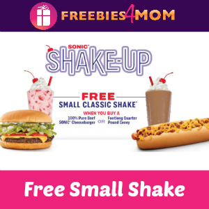 Free Small Shake at Sonic (with purchase)