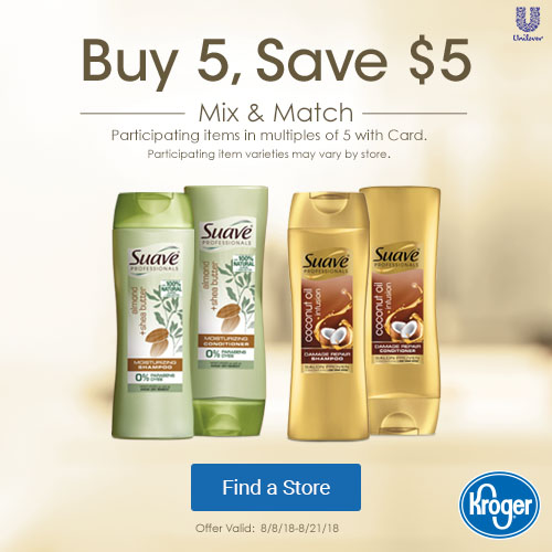 Suave Professionals Buy 5, Save $5 at Kroger