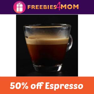 50% offan Espresso at Starbucks Sept. 20
