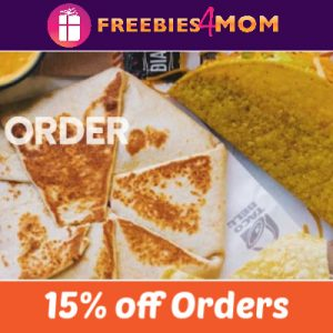 15% off Taco Bell (new accounts)