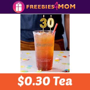 $0.30 Tea at McAlister's Deli Oct. 1
