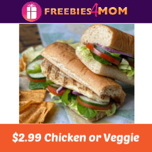 $2.99 Chicken or Veggie Sub at Subway