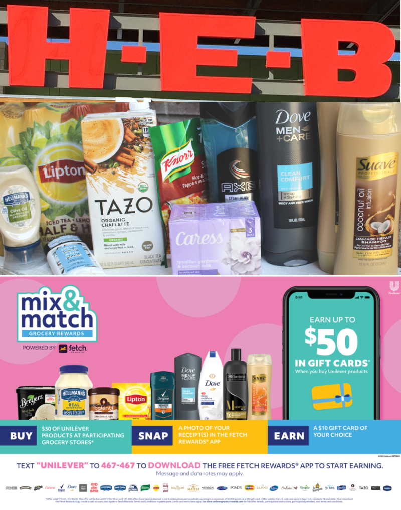 🎁Unilever Mix & Match Grocery Rewards at H-E-B: Earn up to $50 in gift cards