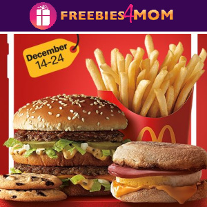 🍟McDonald's Freebies Each Day Dec. 14-24