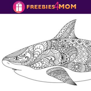 🦈Free Printable Adult Coloring Shark Mandala