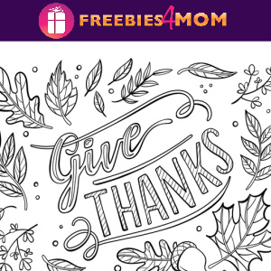 🦃Free Kids Printable: Give Thanks Placemat